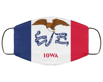 Face Mask Gift for Dad, Iowa Flag Double Layer Protective Mask, Reusable, Washable, Breathable, Print Quality Artwork Present for Mom