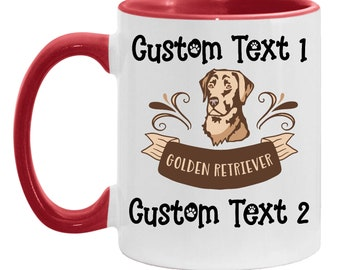 Mom Gift Personalized Golden Retriever Dog Coffee Mug, Best Retriever Dad Custom Cup, Golden Retriever Dog Lover Daughter, Father's Day Gift
