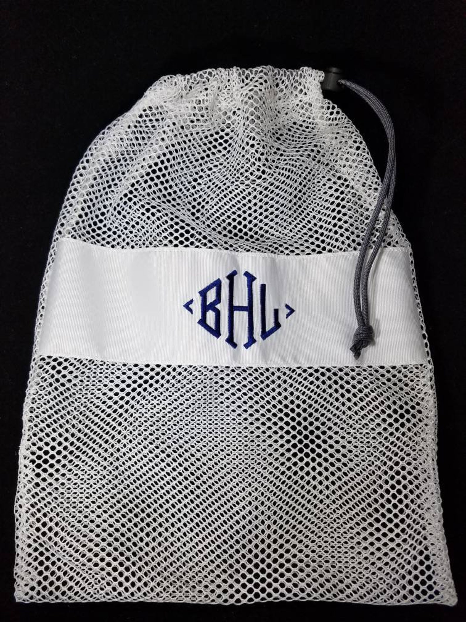 mesh drawstring white large ballet jazz tap pointe shoe glove ditty bag; free shipping within usa; dance team cheer softball gif