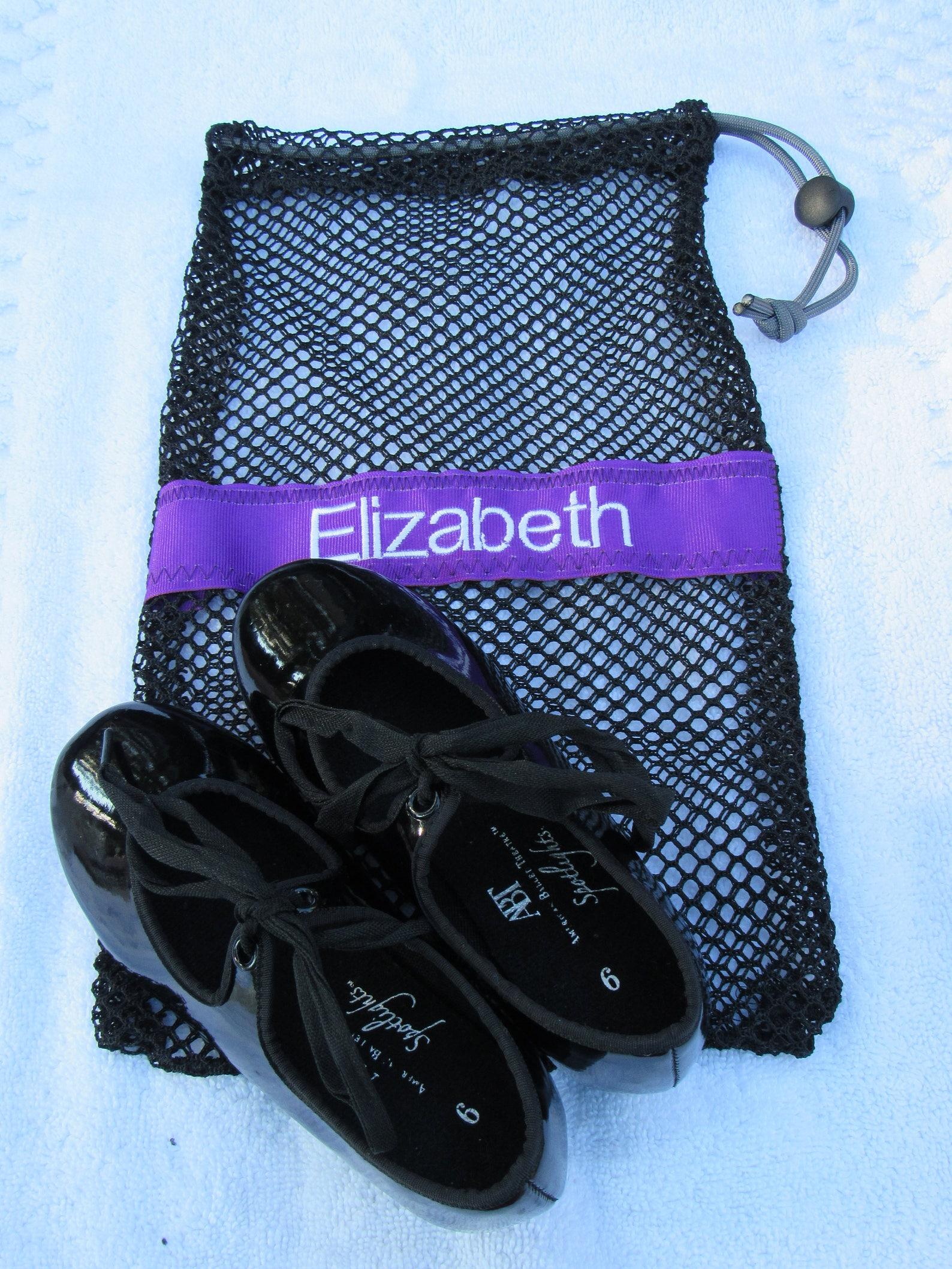 mesh drawstring black small ballet jazz tap pointe shoe glove ditty bag; free shipping within usa; dance team cheer softball gif