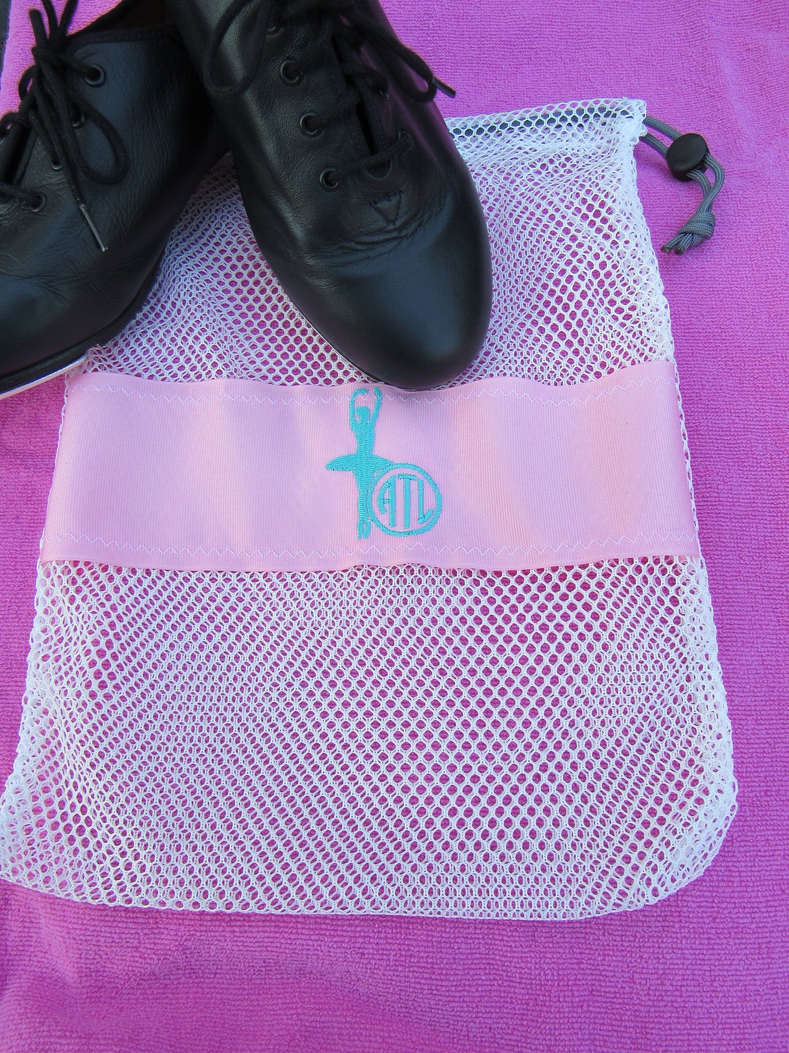 mesh drawstring white small ballet jazz tap pointe shoe glove ditty bag; free shipping within usa; dance team cheer softball gif