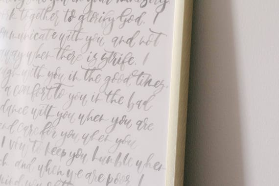 Writing Wedding Vows.Watercolor Wedding Vows Hand Written Vows Custom Vows Modern Calligraphy Wedding Vows Brush Calligraphy Quote Lyrics Inspiration