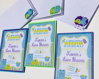 Monsters inc baby shower invitations etsy baby monsters inc baby shower invitations announcement 12pc filmwisefo