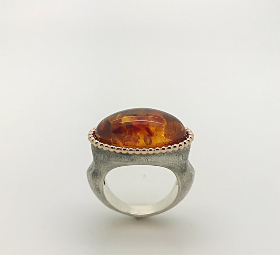 Baltic sea amber ring silver sea promise