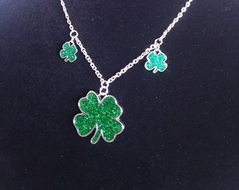 Shamrock necklace Green four leaf clover glitter silver charm silver chain luck of the Irish enamel spring St. Patrick's day free shipping