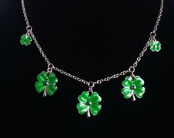 Shamrock Clover green crystal rhinestone pedal charms spring St. Patrick's day silver necklace silver chain free shipping irish lucky