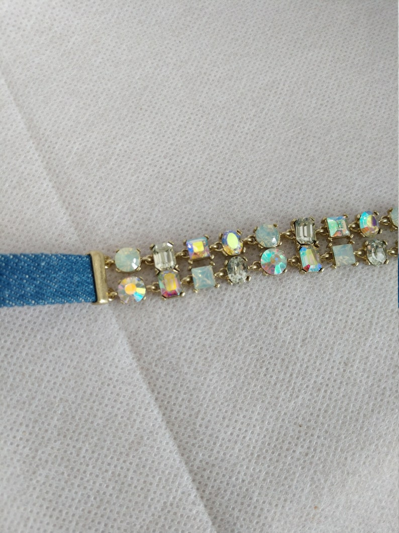 Denim blue choker Necklace Aurora Borealis Glass crystals gifts for her free shipping spring fashion jewelry country girl teenager wedding