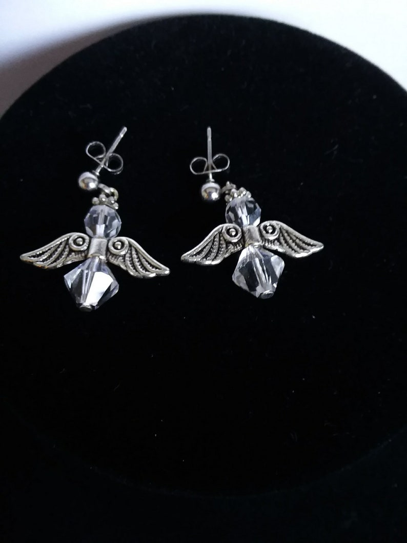 Angel Tibetan silver Swarovski Earrings hypoallergenic dangling drop wings  beads Easter mothers day Faith Christmas free shipping spring