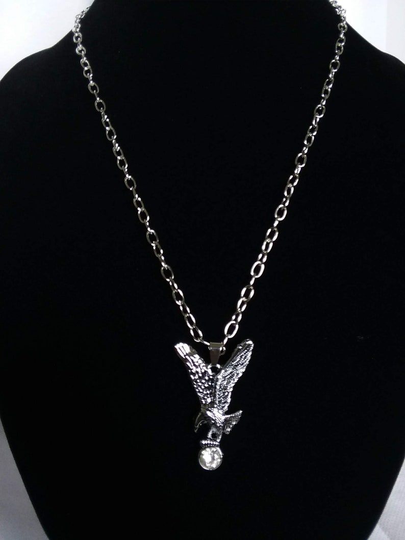 Stainless steel Eagle flight crystal silver chain necklace men women gift for her gift for him Independence day free shipping bird of prey