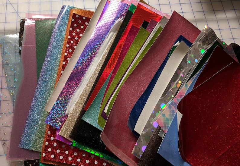 Contents Will Vary From Picture Applique Faux Leather Random Sewing Vinyl Scrap Pack Canvas Glitter /& Jelly Vinyl Hair Bow Vinyl