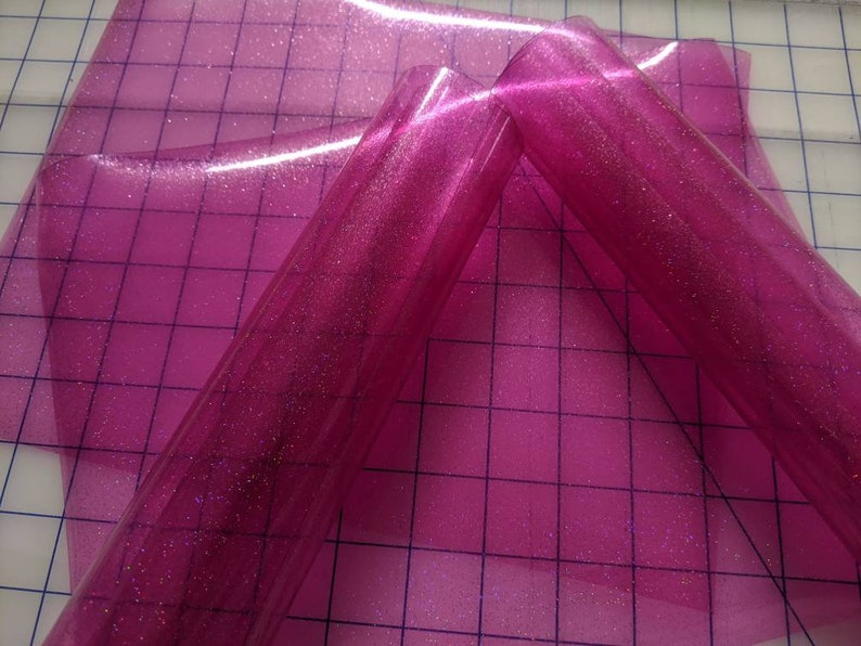 Pool Bow Supply Embroidery Applique Vinyl Transparent Film Fuchsia Pink Tinted Glitter Jelly Vinyl 9x47 ROLL Embroidery PVC Film