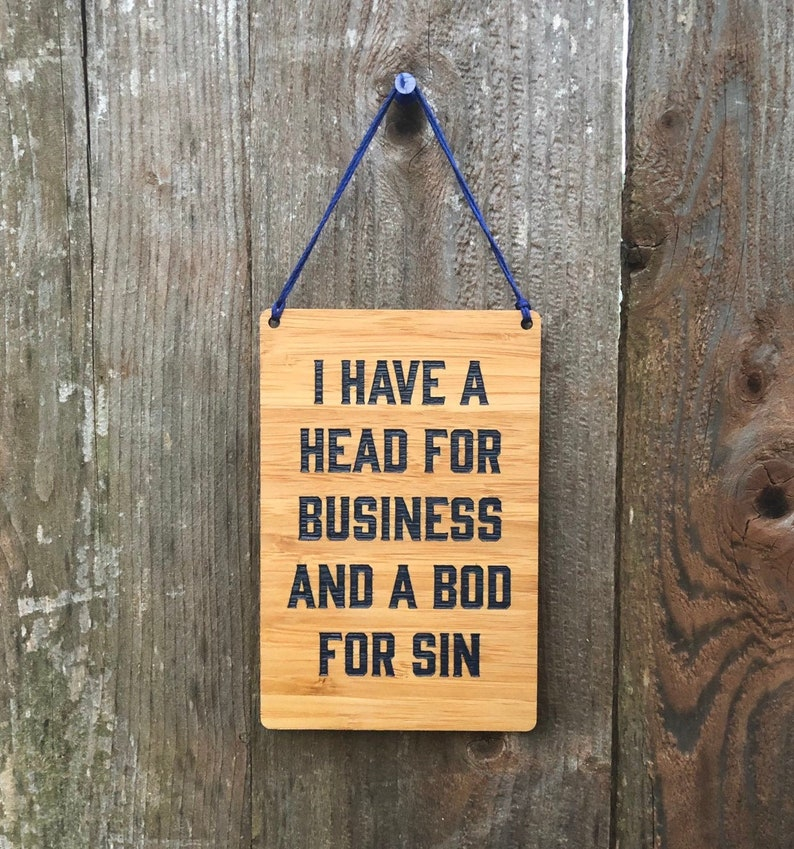 Head for Business Bod for Sin Wood Sign  Laser Cut Mini Wall image 0
