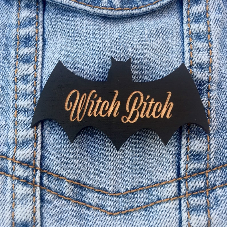 Witch Bith Bat Silhouette Pin Black Painted Laser Cut Wood  image 0