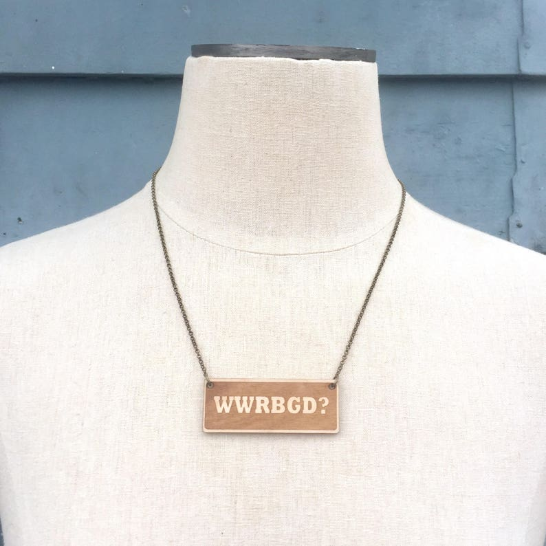What Would Ruth Bader Ginsburg Do WWRBGD Necklace  Feminist image 0