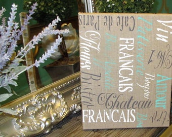 Favorite French Words on Linen Canvas
