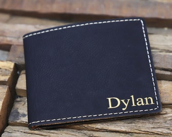 Mens Black Minimalist Wallet Personalized Wallet Monogrammed Wallet Engraved Wallet Leather Bifold Mens Wallet Gift For Dad Gift For Him