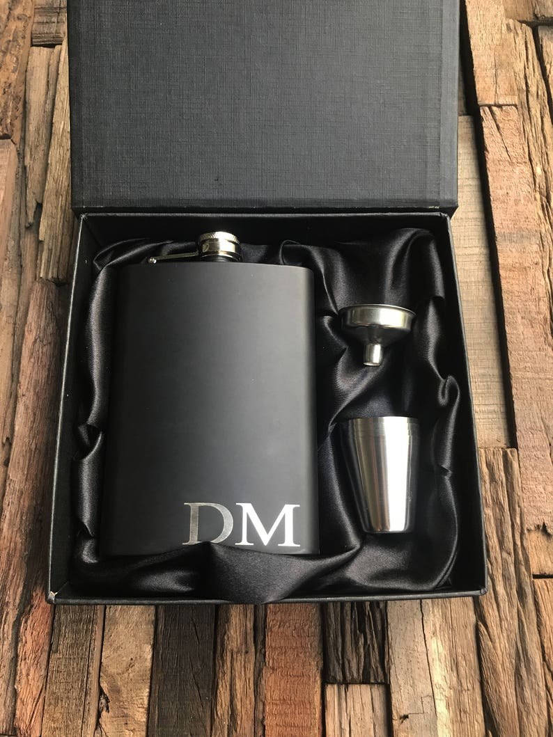 Personalized Flask Set Engraved Matte Black Flask Flask with image 0