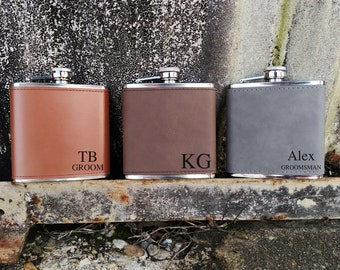 Personalized Groomsman Flasks, Leather Wrapped, Engraved Flask, Engraved Groomsmen flask, Gift for Him,