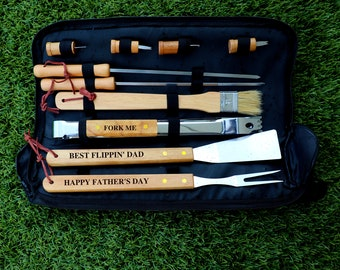BBQ Set in Carrying Case, BBQ Set for Him, Fathers Day Gift, Gift for Husband, Personalized BBQ Set, Engraved Grill Set, Birthday Gift