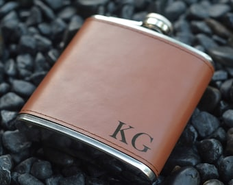 Personalized Groomsman Flasks, Leather Wrapped