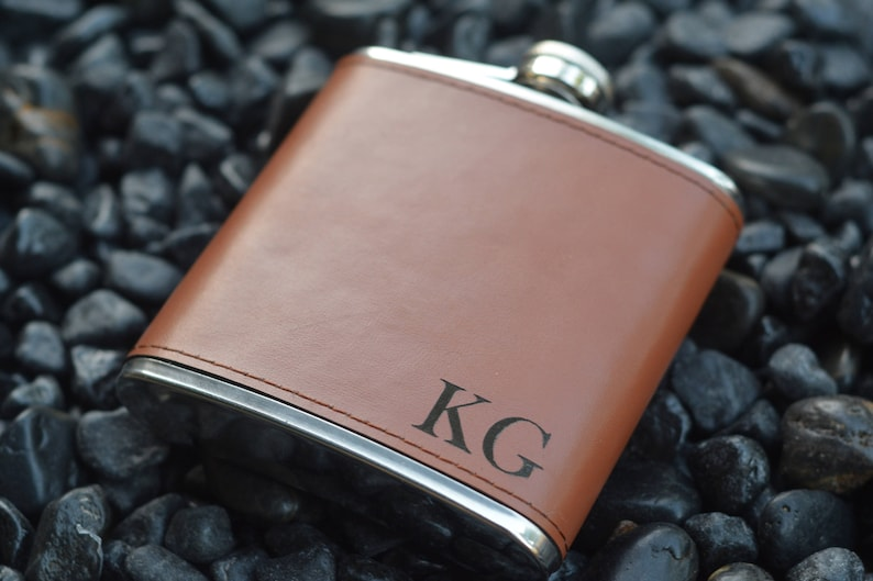Personalized Groomsman Flasks Leather Wrapped image 1