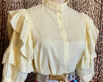Lace Ruffle Blouse sm vintage Gap soft viscose  rayon gauzy