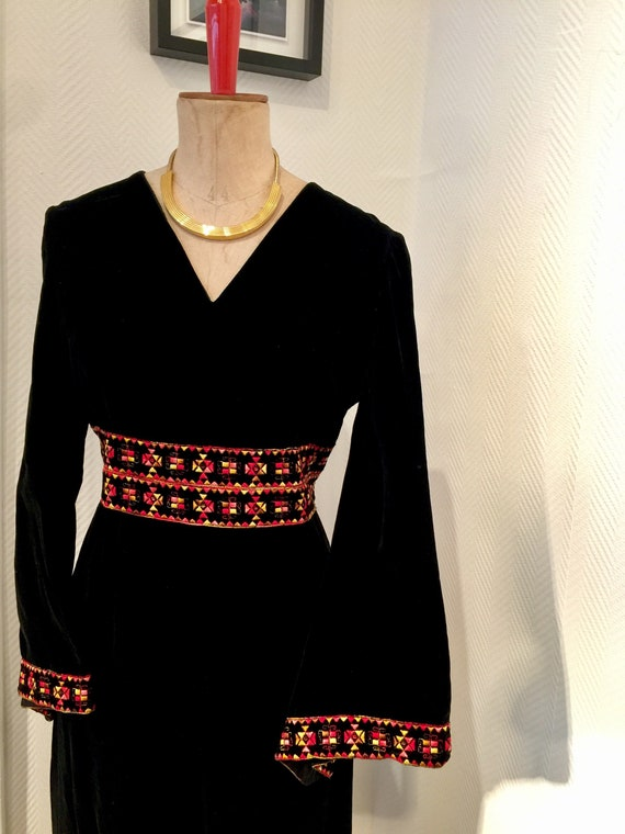 1960s embroidered velvet bell sleve gown