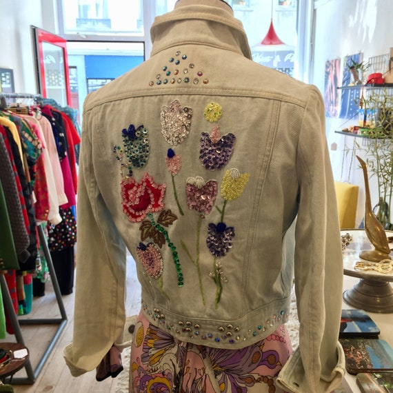 1970s roncelli beaded and studded denim jacket
