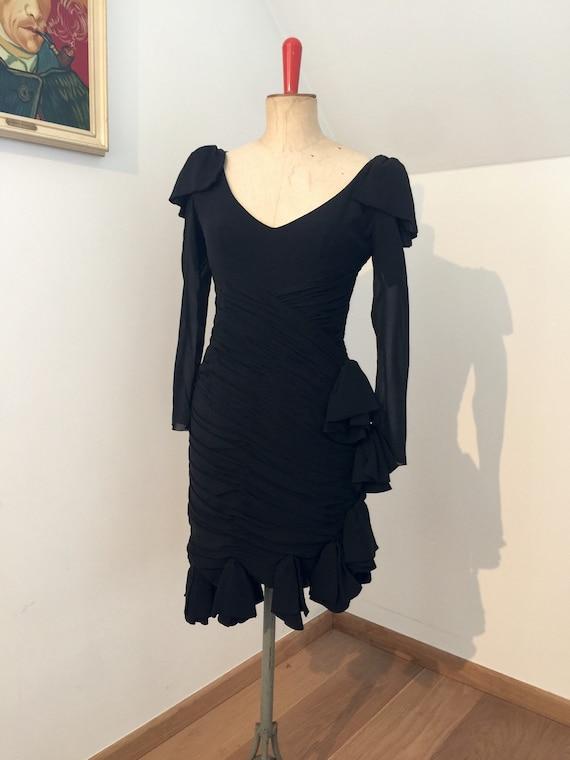 1970s Loris Azzaro black chiffon cocktail gown
