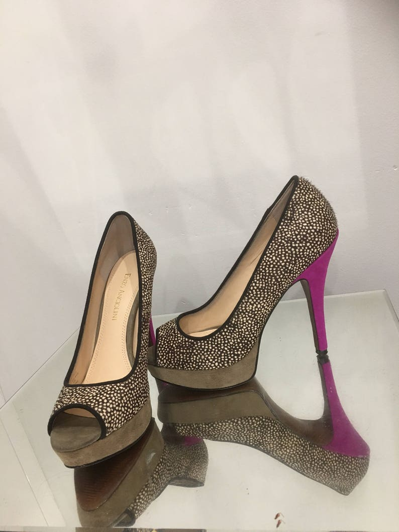 eb308f626272 Animal print pumps shoes hot pink Stiletto heels textured