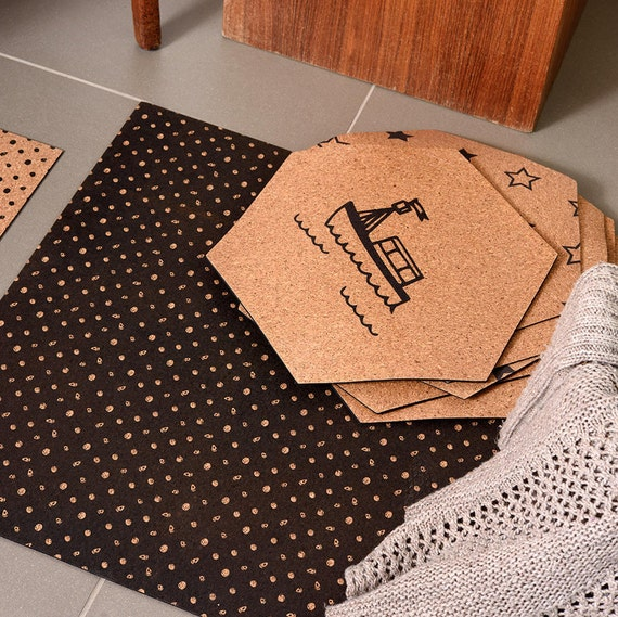 Black Cork Rug Christmas Gift Polka Dot Pattern Mat Etsy