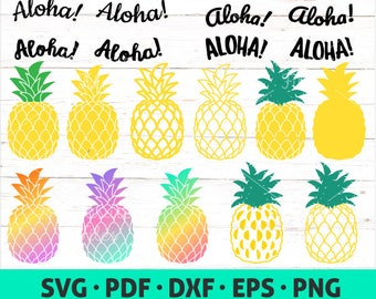 Pineapple SVG - Aloha svg file - Rainbow Pineapple cut file - Tropical download set - Pineapple for T-shirt - Downloadable File