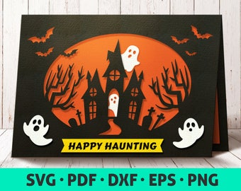 halloween card svg card template svg cute halloween papercut halloween card making haunted house svg halloween invitation file