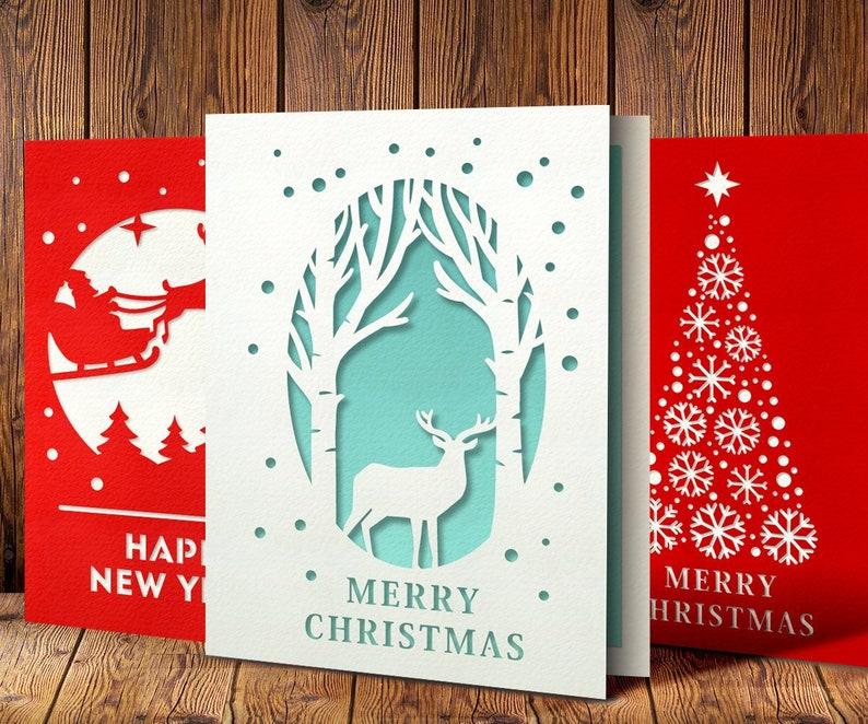 Weihnachtskarten Einladung.3 Weihnachtskarten Set Weihnachtskarten Vorlagen Svg Weihnachten Einladung Datei Papierschnitt Karte Birke Bäume Hirsch Svg Schneeflocken Svg
