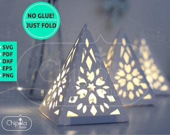 Centerpiece decoration SVG, 3D Pyramid Lantern, Geometric Paper model template, table decoration, Luminary Wedding decor, Cricut, Silhouette