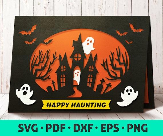 halloween card svg card template svg cute halloween etsy