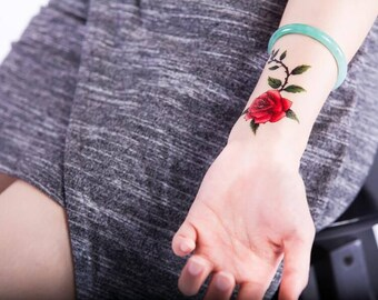 Red Rose Tattoo Etsy