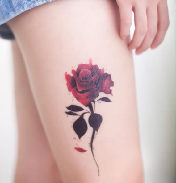 Bloody Rose Rouge Rose Fleur Tatouage Temporaire Tattoo Etsy