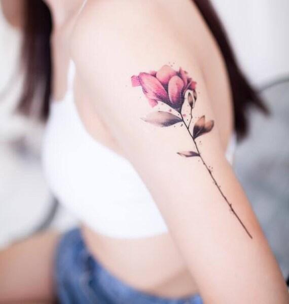 Aquarelle Fleur Rose Tattoo Tatouage Temporaire Autocollant Etsy