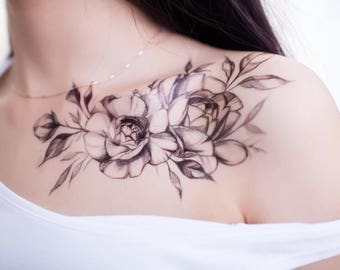 Classical Rose/ Peony Flower Temporary Tattoo- Tattoo Sticker