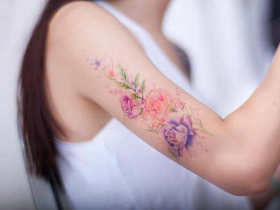 Kleurrijke Bloemen Arm Tattoo Tattoo Stickers Etsy
