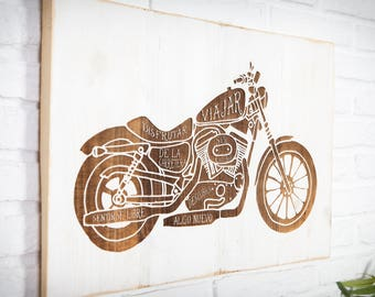 Recycled bike engraved wooden sign