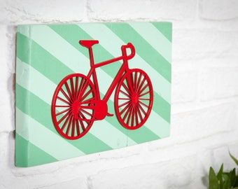 Recycled bike wooden sign