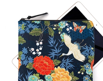 "Crane with large floral in blue metallic gold print padded zipped case for iPad Mini / iPad / iPad Pro 11""  12.9""/ iPad Air"