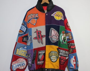Large Products Hot Sale Vintage Chicago Bulls Nba Jordan Era Leather Jacket j.h. Jeff Hamilton