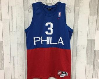 43a6541ea62 Vintage Allen Iverson Philadelphia 76ers Nike Jersey Size Medium