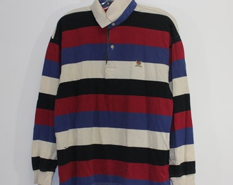 68c98b6f872 Vintage Tommy Hilfiger Striped Rugby Shirt Size Large