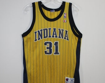 2ae337dcbacc Vintage Reggie Miller Indiana Pacers NBA Champion Jersey Size 40 Medium  Pinstripe Yellow