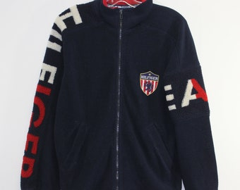 11c5e95f Vintage Tommy Hilfiger Fleece Jacket Size Small Sleeve Spell Out