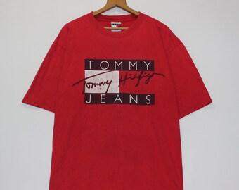 1af643e5 Vintage Tommy Hilfiger Jeans Flag T-Shirt Size XL